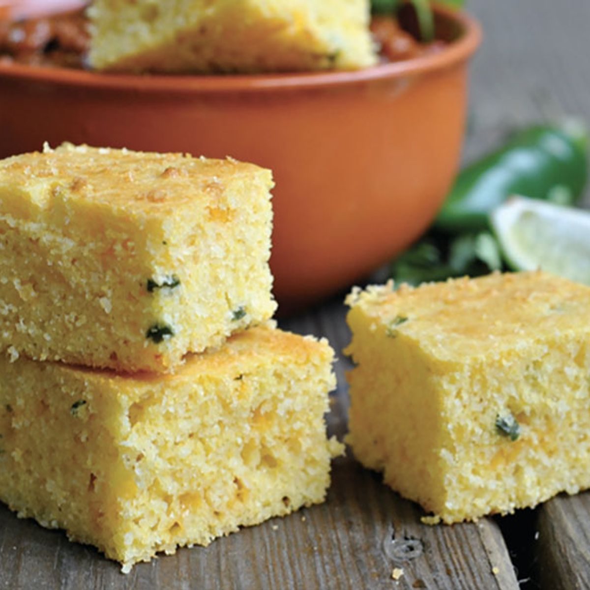 Almond flour allows for a rich slice of jalapeño cheddar cornbread with none of the guilt