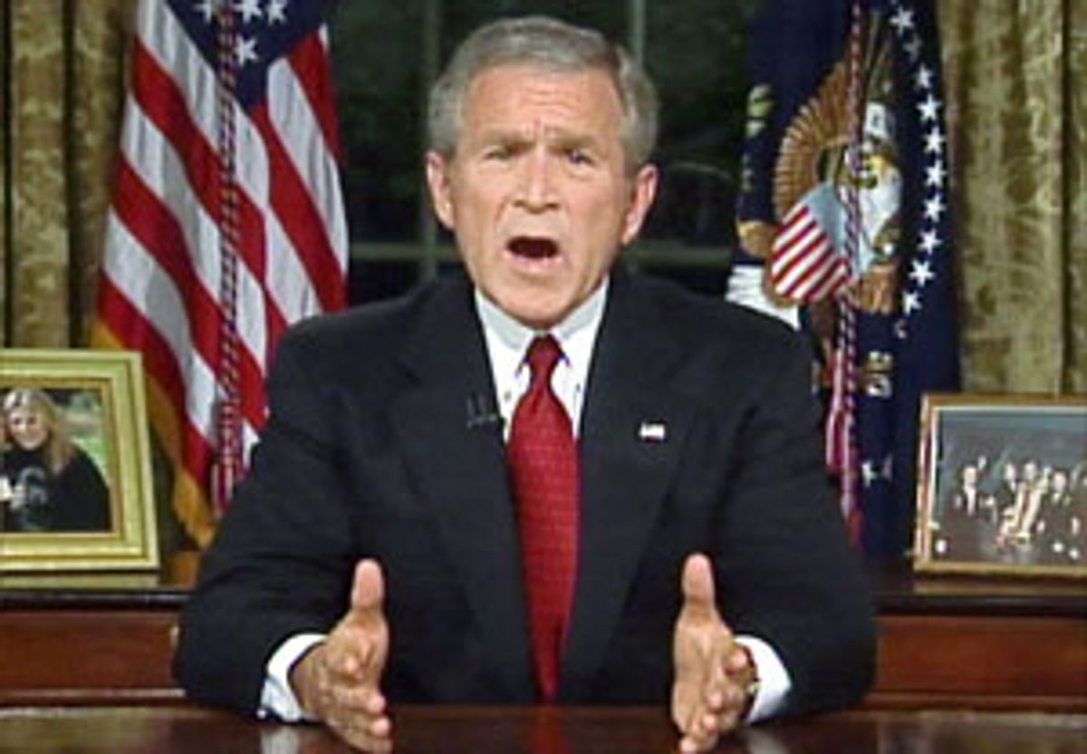 U.S. President George W. Bush makes an address to the nation from the Oval Office at the White House in Washington, September 11, 2006, on the fifth anniversary of the September 11, 2001 attacks. REUTERS/Reuters TV   (UNITED STATES) (Reuters)