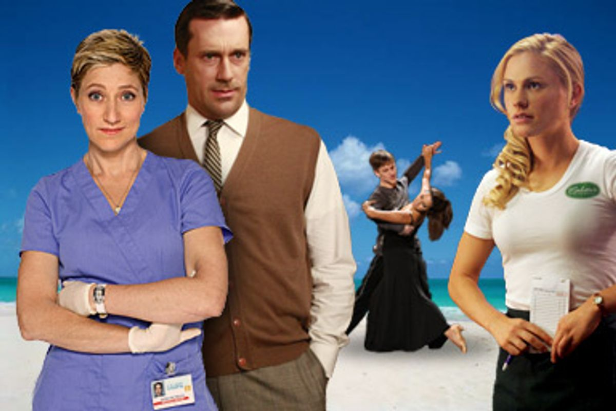 """From left, images from """"Nurse Jackie,"""" """"Mad Men,"""" """"So You Think You Can Dance"""" and """"True Blood."""""""