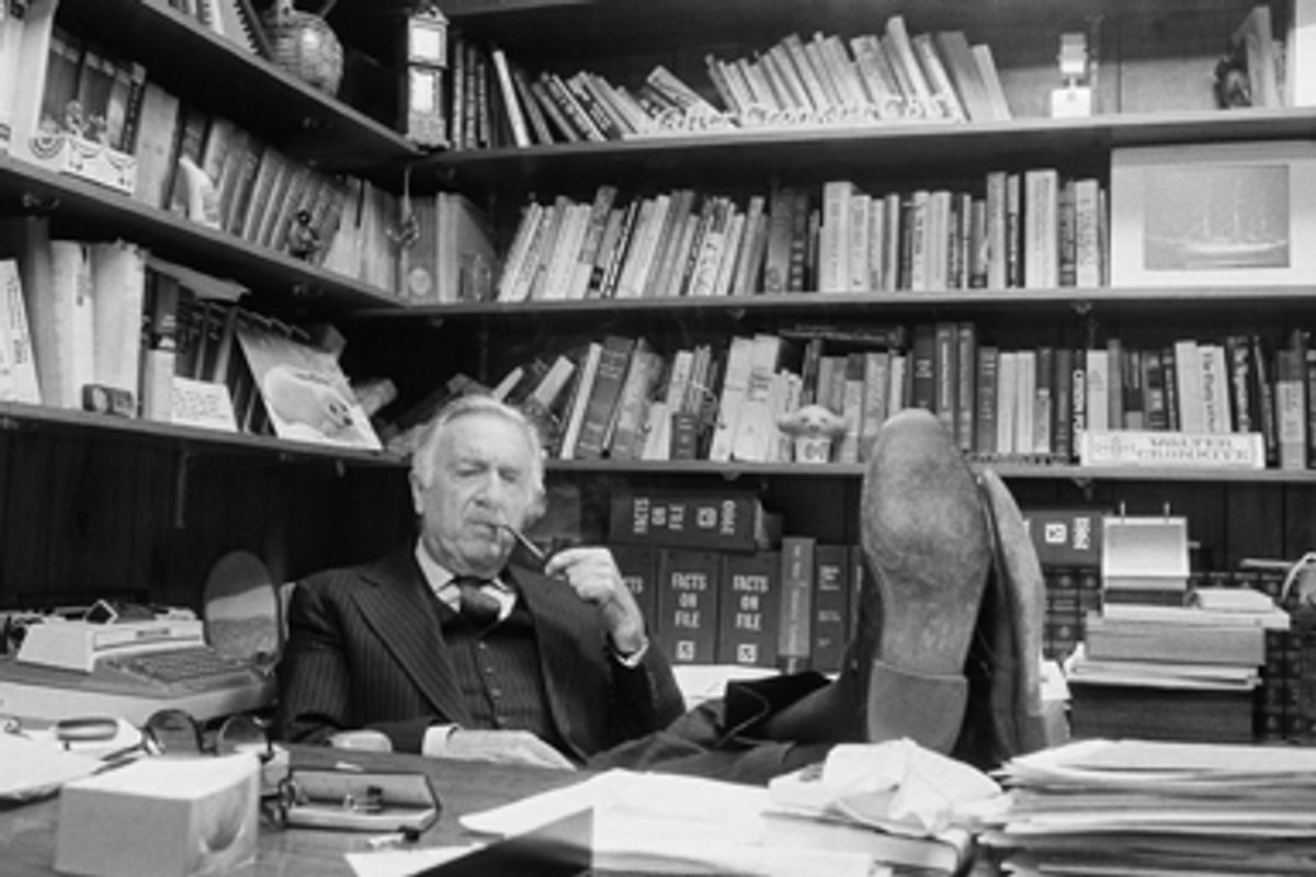CBS-TV newsman Walter Cronkite is interviewed in his CBS office at the broadcast center 524 West 57th Street on Feb. 3, 1981 in New York.