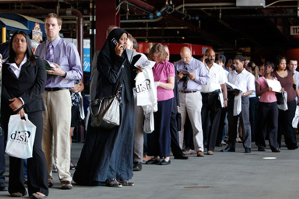 Job seekers are seen at the 6th Annual Grand Slam Career Fair held at Citizens Bank Park in Philadelphia, Wednesday, July 15, 2009.