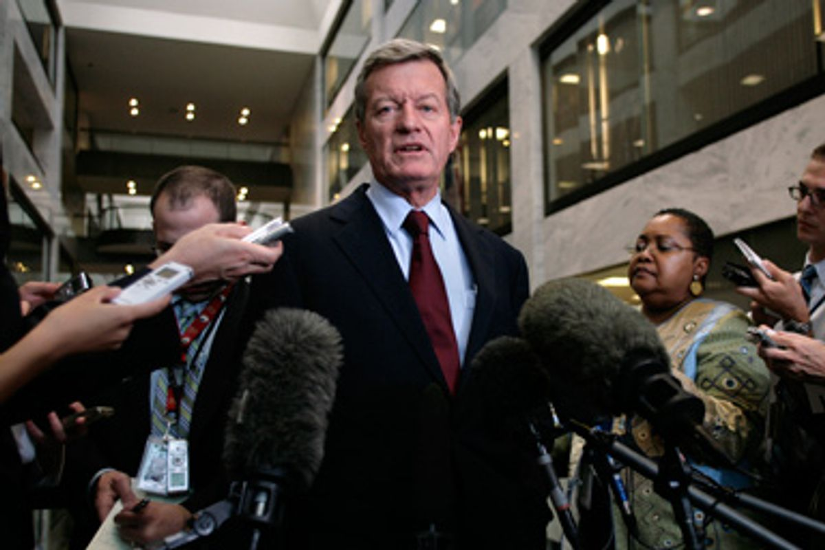 """U.S. Senate Finance Committee Chairman Max Baucus (D-MT) talks to the media after the Senate's """"Gang of Six"""" meeting on healthcare reform on Capitol Hill in Washington, September 15, 2009."""