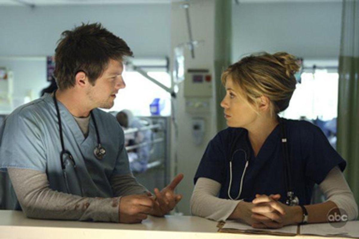 Bryce (Zachary Knighton) and Olivia (Sonia Walger)