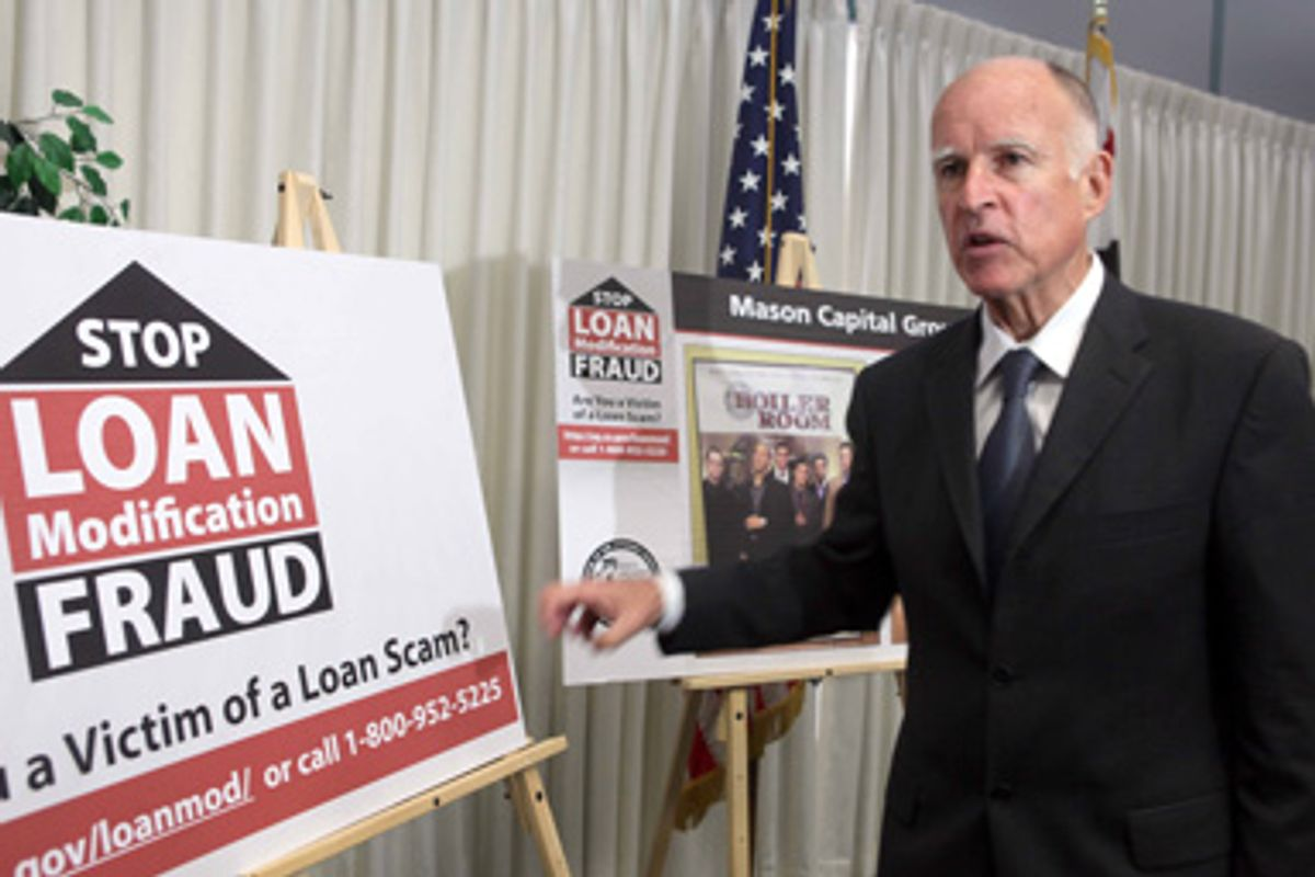 California Attorney General Jerry Brown, speaks at news conference Wednesday Aug. 12, 2009 in Los Angeles.