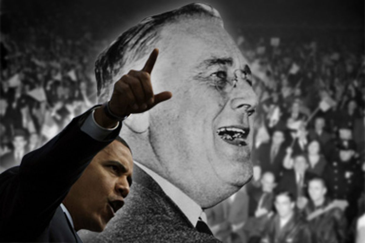President Obama and President Franklin D. Roosevelt. Background: Stamping, flag-waving New Yorkers give Pres. Franklin D. Roosevelt a thunderous ovation as he appeared in Madison Square Garden, Oct. 31, 1936.