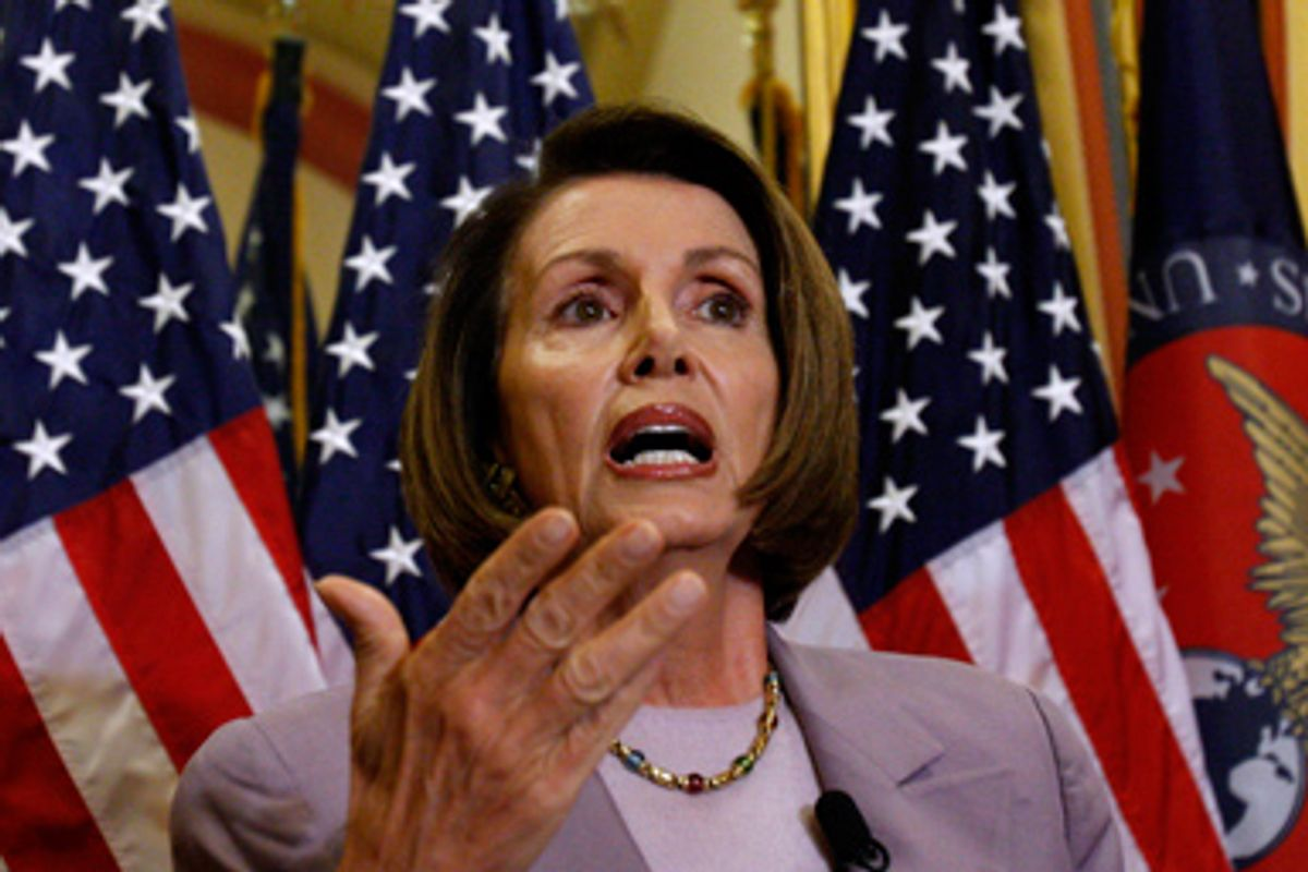 House Speaker Nancy Pelosi of Calif. gestures during a news conference on Capitol Hill in Washington, Thursday, Sept. 17, 2009.
