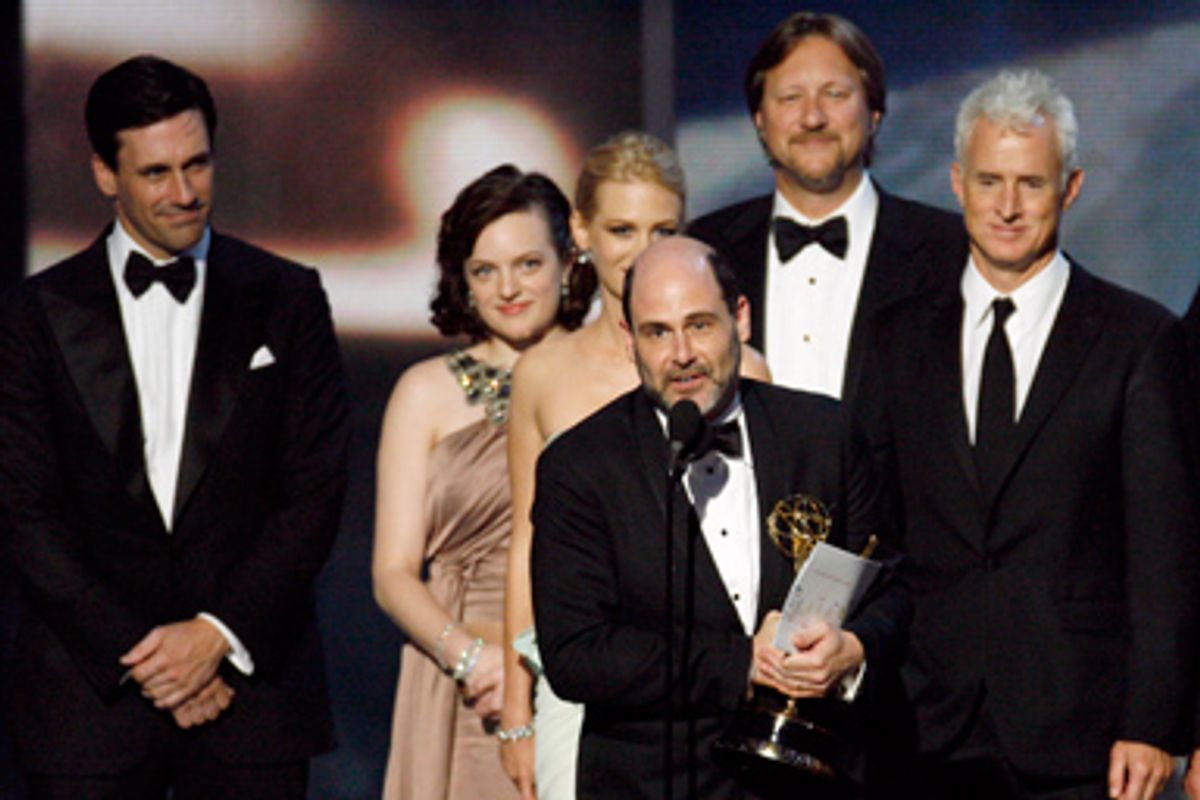 """Executive producer and writer Matthew Weiner accepts the award for best drama series for """"Mad Men"""" at the 61st annual Primetime Emmy Awards in Los Angeles, California September 20, 2009."""