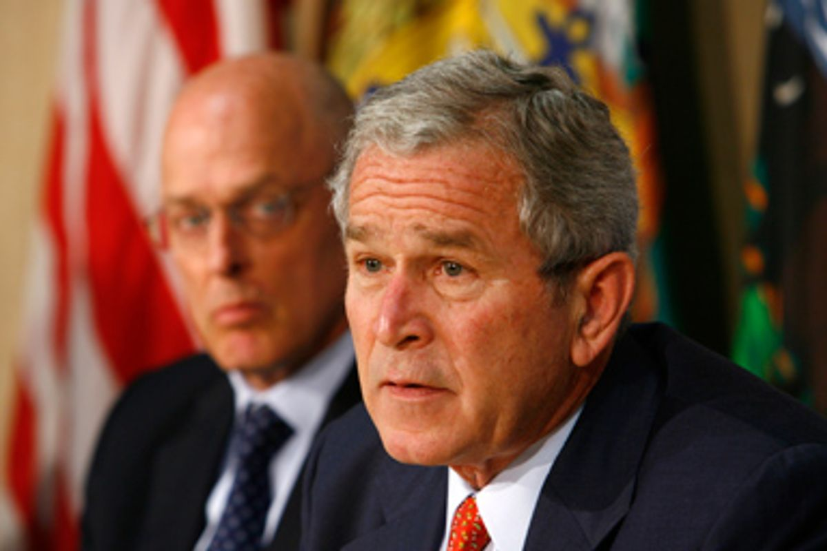 U.S. President George W. Bush speaks during a meeting with members of his economic team at the Department of Energy in Washington July 11, 2008. At left is Treasury Secretary Henry Paulson.