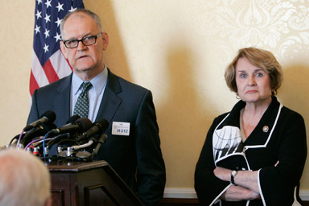 Former CIGNA Vice President Wendell Potter, left, who has become a whistleblower regarding the health care industry, accompanied by Rep. Louise Slaughter, D-N.Y, speaks during a news conference on Capitol Hill in Washington, Wednesday, Aug. 12, 2009.
