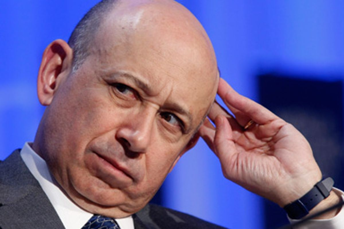 Goldman Sachs Group CEO, Lloyd Blankfein, looks on as he attends a session at the World Economic Forum WEF in Davos January 24, 2008.