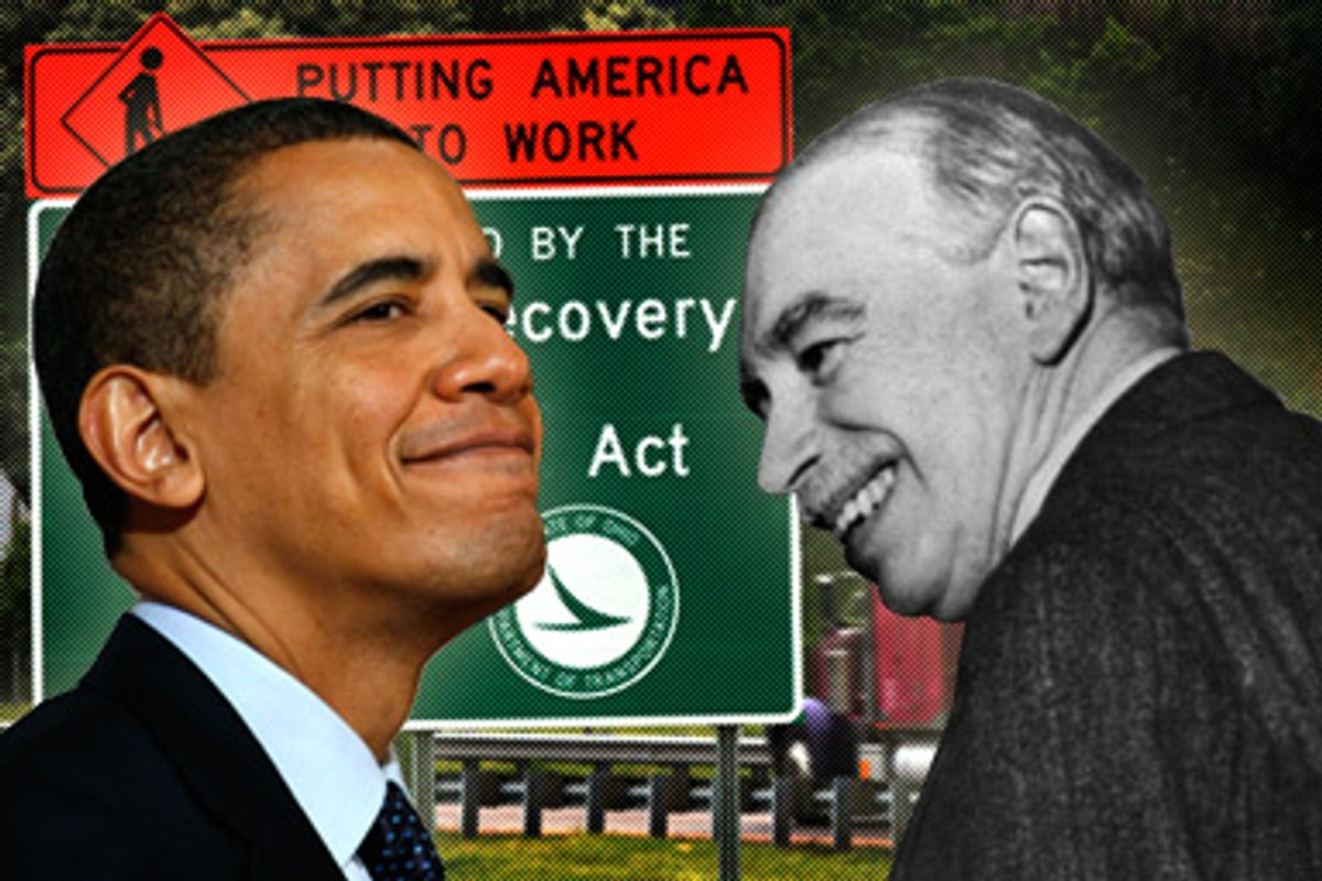 President Barack Obama and John Maynard Keynes. Background: An Ohio Department of Transportation sign near the Interstate 490 and Interstate 77 ramps in Cleveland, on June 8, 2009.