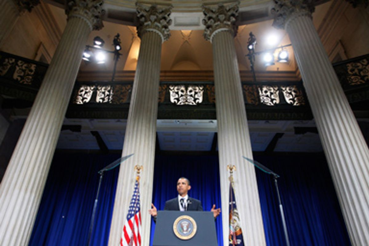 President Barack Obama speaks about the financial crisis, on the anniversary of the Lehman Brothers collapse, Monday, Sept. 14, 2009, at Federal Hall on Wall Street in New York.
