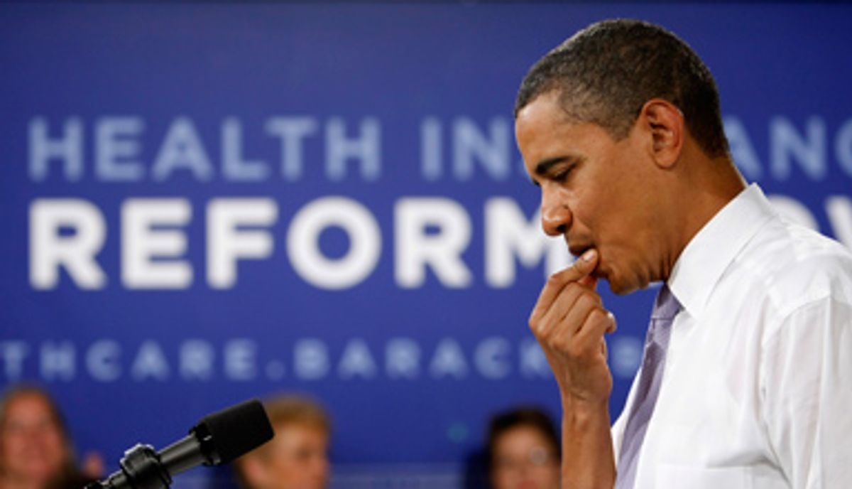 U.S. President Barack Obama speaks during an Organizing for America national healthcare forum at the Democratic National Committee Headquarters in Washington August 20, 2009.