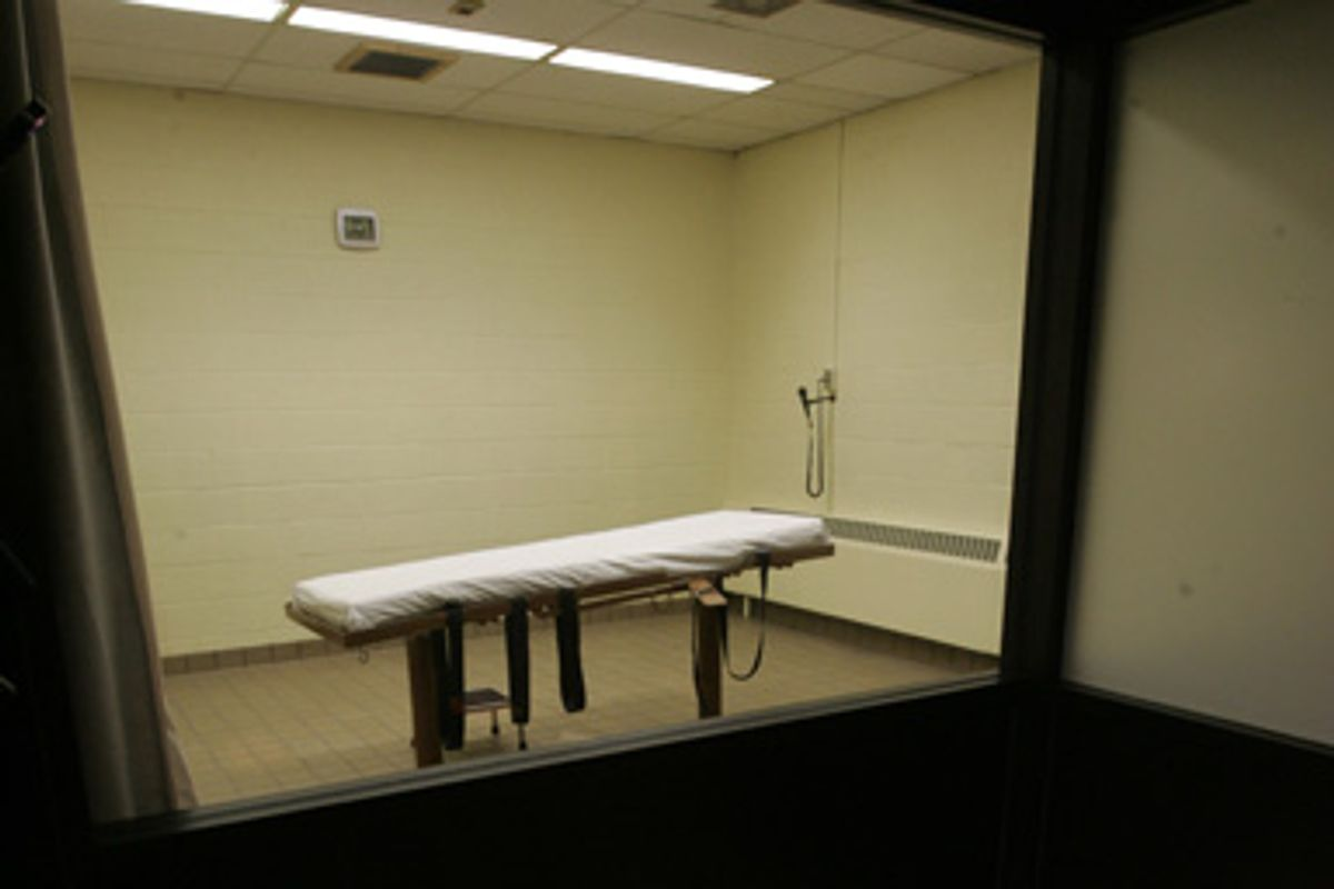 The death chamber at the Southern Ohio Corrections Facility in Lucasville, Ohio.