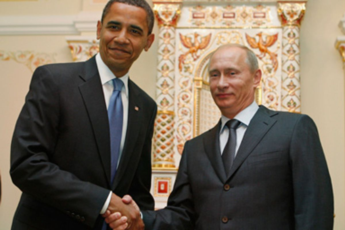 U.S. President Barack Obama (L) meets Russian Prime Minister Vladimir Putin in Moscow July 7, 2009.