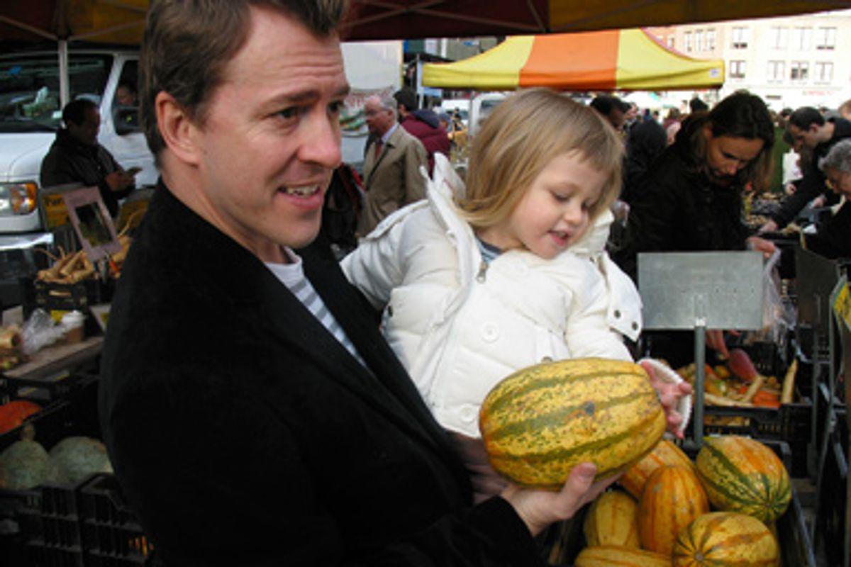 Colin Beavan and his daughter at the market