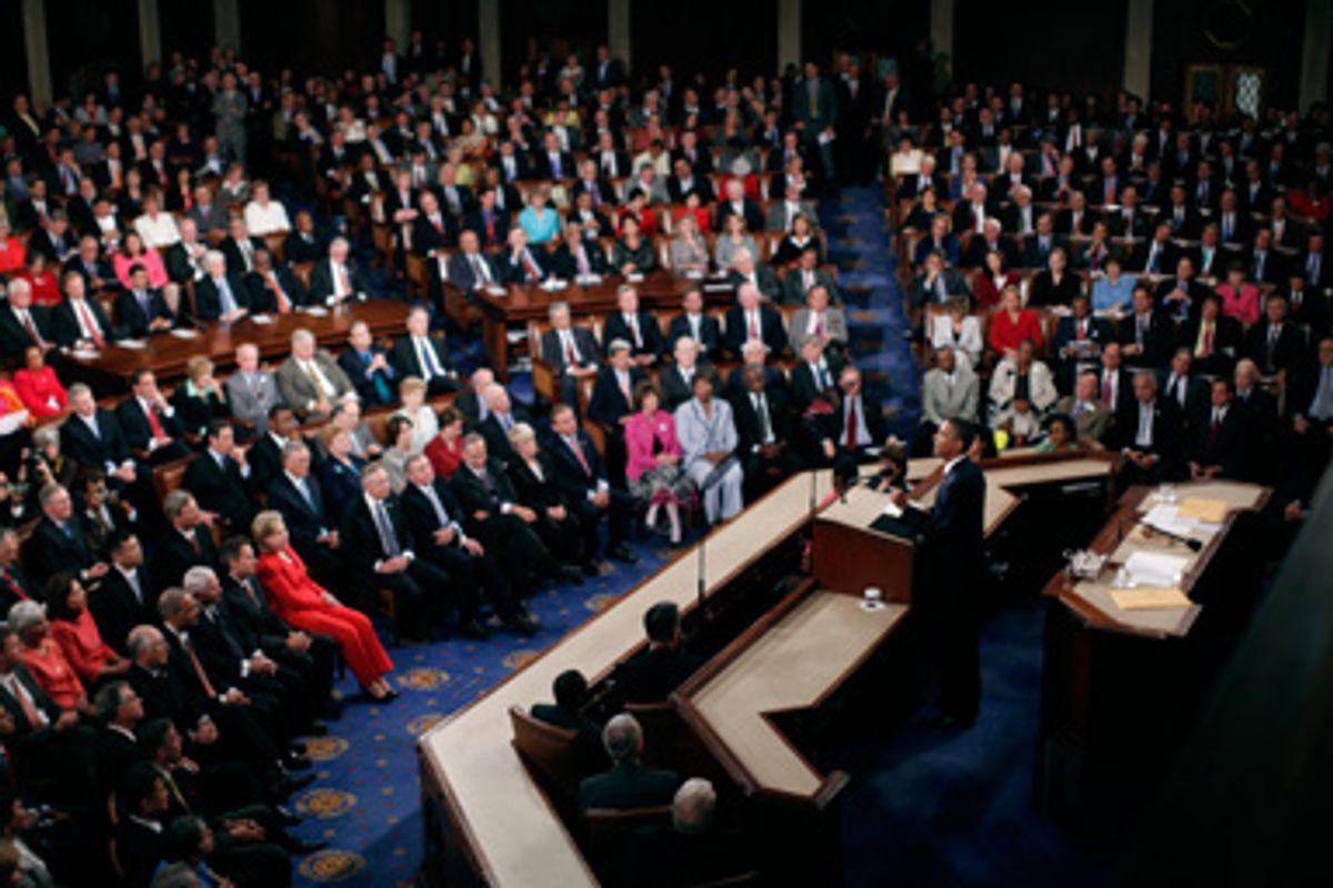 U. S. President Barack Obama delivers his speech on healthcare reform to a joint session of Congress on Capitol Hill in Washington, Sepatember 9, 2009.