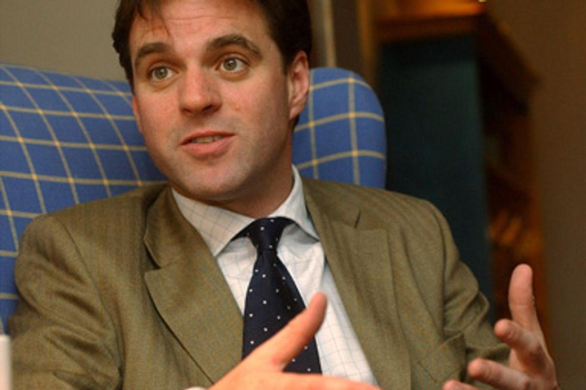 """Historian and author Niall Ferguson talks about his new book, """"Empire,"""" during an intetrview in Cambridge, Mass., April 11, 2003."""