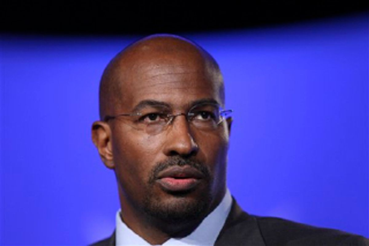 """File - Van Jones, an administration official specializing in environmentally friendly """"green jobs,""""  is seen at the National Summit in Detroit, in this June 16, 2009 file photo. The White House issued a statement early Sunday Sept. 6, 2009 saying Jones had quit the administration. (AP Photo/Carlos Osorio) (AP)"""