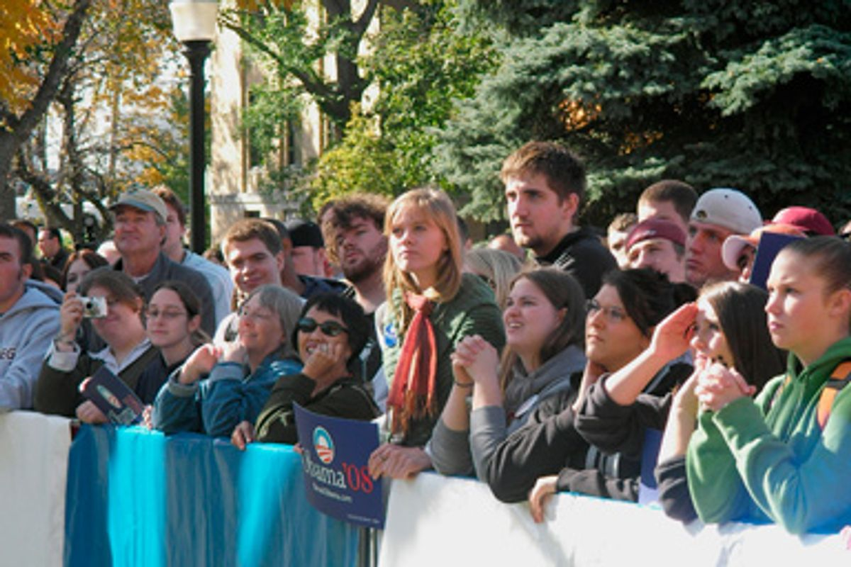 Young voters listen to U.S. Senator Barack Obama (D-IL) at a rally in Cedar Rapids, Iowa, October 29, 2007.