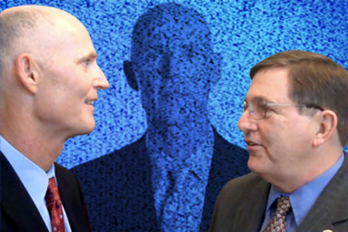 Rick Scott talks about Solantic to Texas Congressman Michael Burgess, chair of the Congressional Health Care Caucus