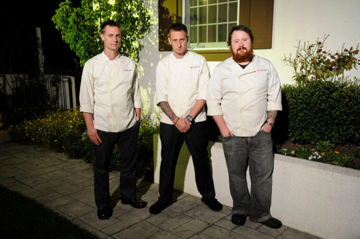 "TOP CHEF -- ""Episode 614"" -- Pictured: (l-r) Bryan, Michael, Kevin -- Bravo Photo: Virginia Sherwood"