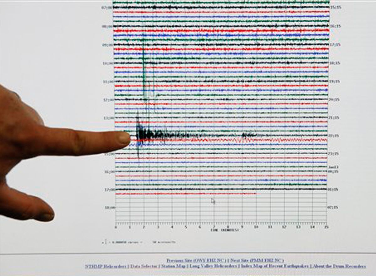 A seismic analyst at the Caltech Seismological Laboratory shows the 7.0 peak from the Haiti earthquake.
