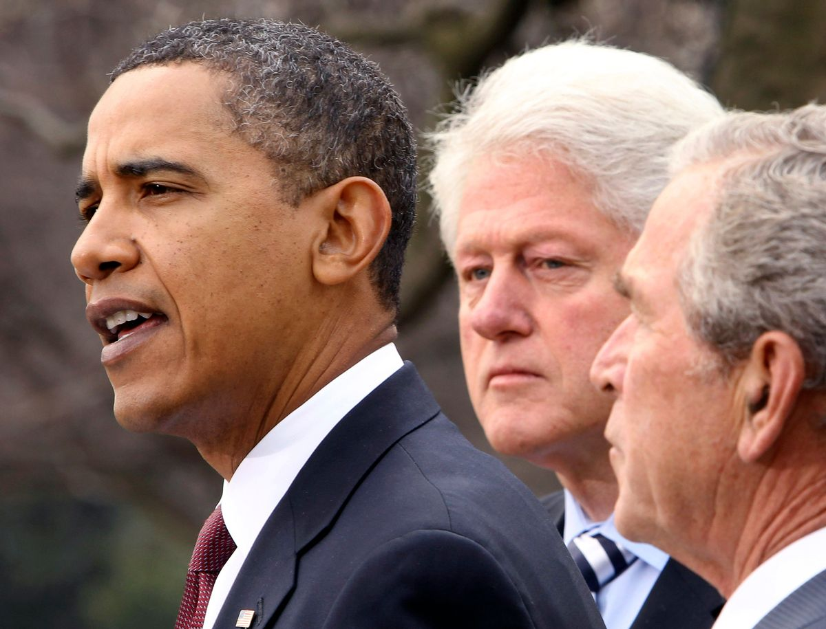 U.S. President Barack Obama (L) is joined by former U.S. Presidents George W. Bush (R) and Bill Clinton in the Rose Garden of the White House in Washington while speaking about disaster aid to Haiti January 16, 2010.         REUTERS/Larry Downing  (UNITED STATES - Tags: POLITICS DISASTER)  (Reuters)
