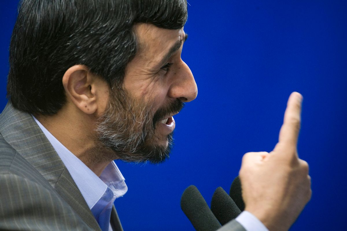 EDITORS' NOTE: Reuters and other foreign media are subject to Iranian restrictions on their ability to film or take pictures in Tehran.  Iranian President Mahmoud Ahmadinejad speaks during Friday prayers in Tehran August 28, 2009. Ahmadinejad on Friday called for the prosecution and punishment of the leaders of unrest that erupted after his disputed June re-election.  REUTERS/Morteza Nikoubazl (IRAN POLITICS HEADSHOT RELIGION) (Reuters)
