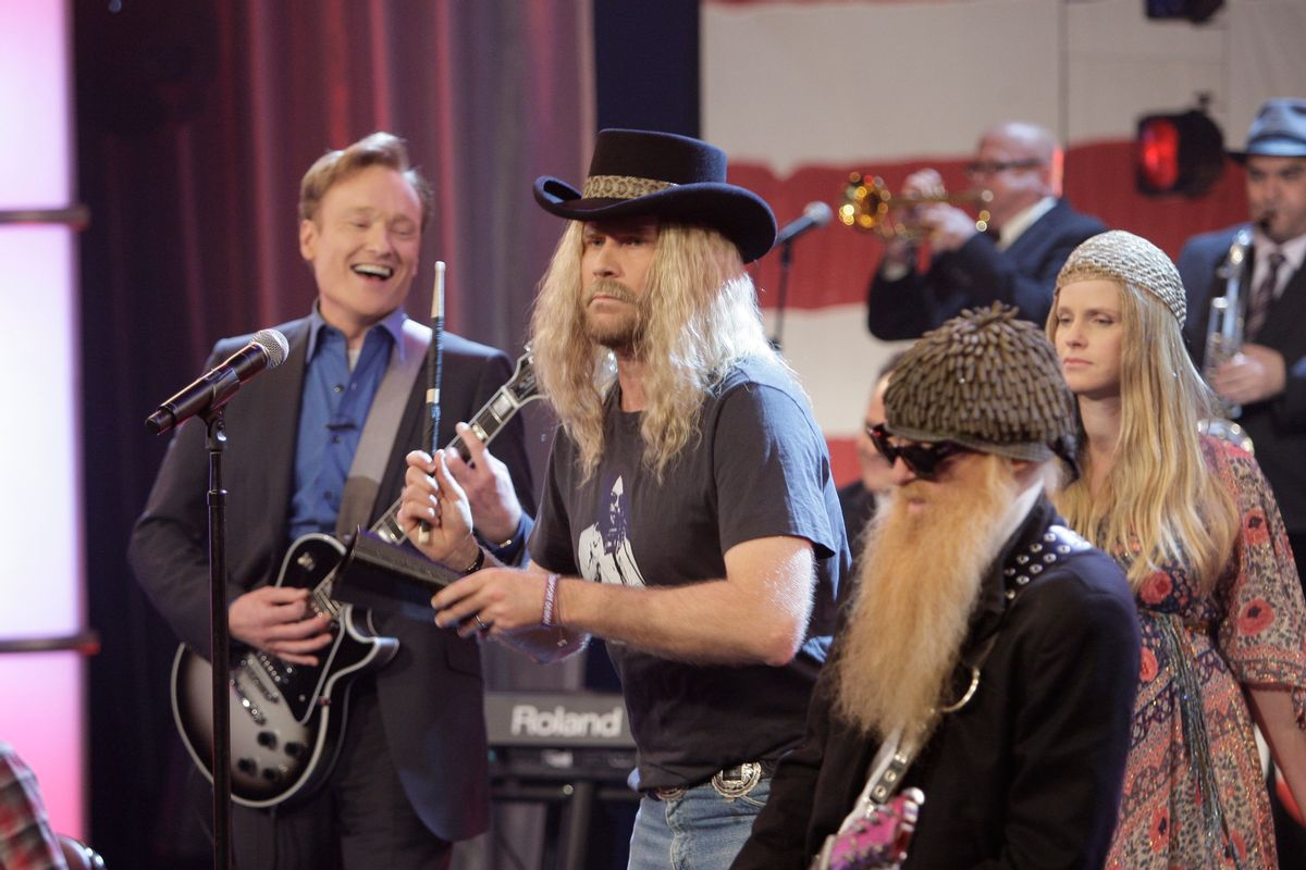 THE TONIGHT SHOW WITH CONAN O'BRIEN -- Episode 145 -- 01/22/2010 -- Pictured: (l-r) Host Conan O'Brien with Actor Will Ferrell, ZZ Top performing on January 22, 2010 (Photo by: Paul Drinkwater/NBCU Photo Bank via AP Images)  (Associated Press)