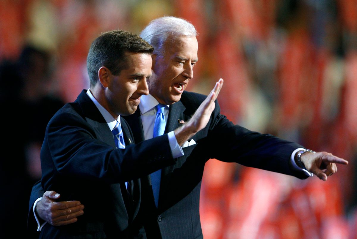 Beau Biden, Delaware attorney general, and now-vice president Joe Biden at the 2008 Democratic National Convention, before Barack Obama accepted the nominatino. (Chris Wattie/Reuters)