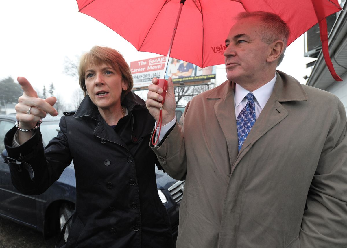 Democratic candidate, Massachusetts Attorney General Martha Coakley, left, and her husband Thomas F. O'Connor, Jr. arrive at campaign stop in the special election to replace former Sen. Edward Kennedy, D-Mass., Tuesday, Jan. 19, 2010 in Springfield, Mass. (AP Photo/Jessica Hill) (Jessica Hill)