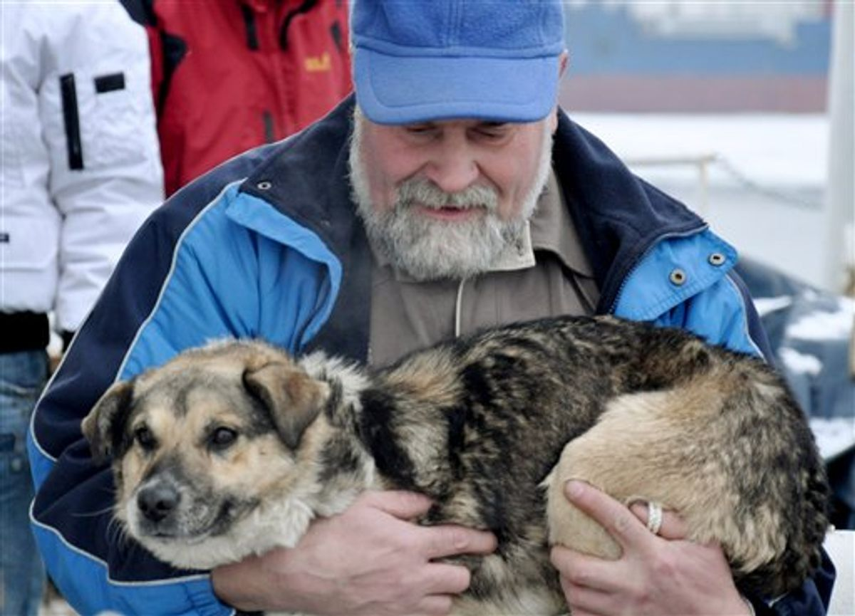 """In this photo taken Tuesday, Jan. 26, 2010 and made available Thursday, Jan 28, 2010 Adam Buczynski carries a dog found floating cold and alone on an ice floe 15 miles off the Polish Baltic Sea coast in Gdynia,  Poland. Buczynski, a sailor from the ship """"Baltic""""  pulled out the dog from the ice floe. (AP Photo/Maciej Czoska)  ** POLAND OUT **  (AP)"""