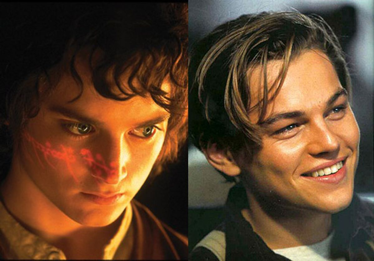 """Frodo Baggins (Elijah Wood) in """"Lord of the Rings: Fellowship of the Ring"""" and Jack Dawson (Leonardo DiCaprio) in """"Titanic"""""""