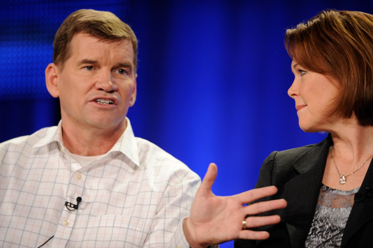 """Ted Haggard (L) and wife Gayle answer questions during the HBO panel for the documentary """"The Trials of Ted Haggard"""" at the Television Critics Association winter press tour in Los Angeles January 9, 2009. Haggard, the powerful U.S. evangelist who fell from grace in 2006 amid a gay sex scandal, returned to the spotlight on Friday saying his faith was stronger but he wished people had been more forgiving. REUTERS/Phil McCarten (UNITED STATES) (Reuters)"""