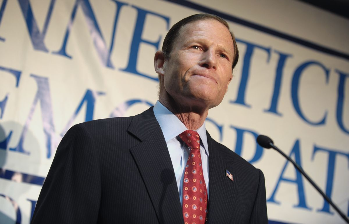 Connecticut Attorney General Richard Blumenthal announces his candidacy for the U.S. Senate seat vacated by the retirement of fellow Democrat Christopher Dodd in Hartford, Conn., Wednesday, Jan. 6, 2010.  (AP Photo/Jessica Hill) (Jessica Hill)