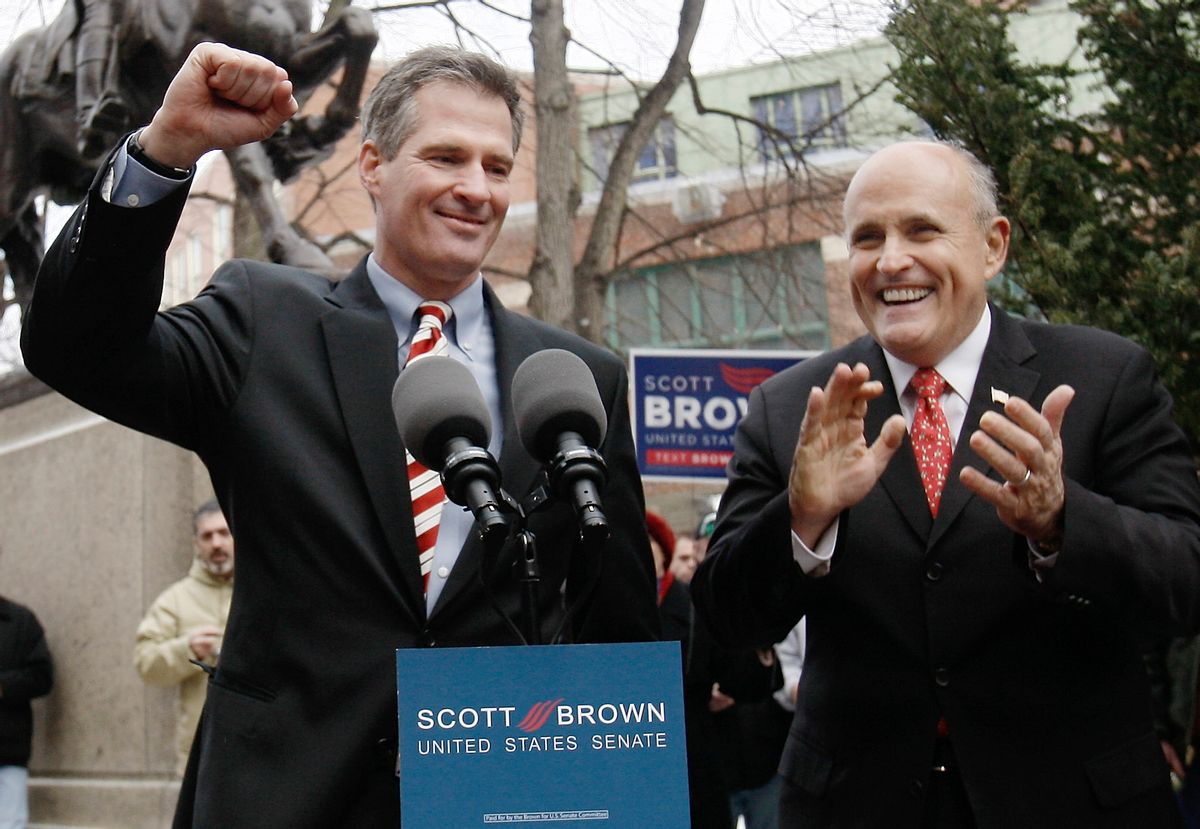 Former New York Mayor Rudolph Giuliani campaigns with Massachusetts State Senator Scott Brown, R-Wrentham in Boston, Friday, Jan. 15, 2010. Brown is on the ballot of the Tuesday, Jan. 19, 2010, special election to fill the U.S. Senate seat left vacant by the death of Sen. Edward M. Kennedy, D-Mass.  (AP Photo/Winslow Townson)  (Winslow Townson)