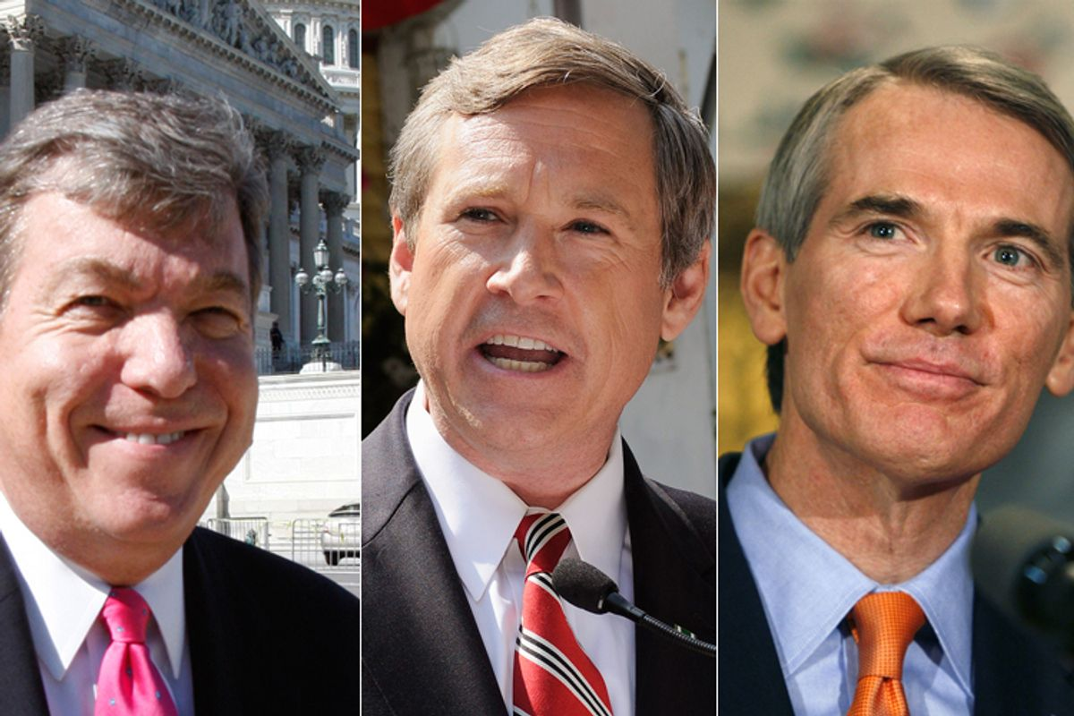Rep. Roy Blunt, R-Mo., Rep. Mark Kirk, R-Ill., and former Ohio congressman Rob Portman