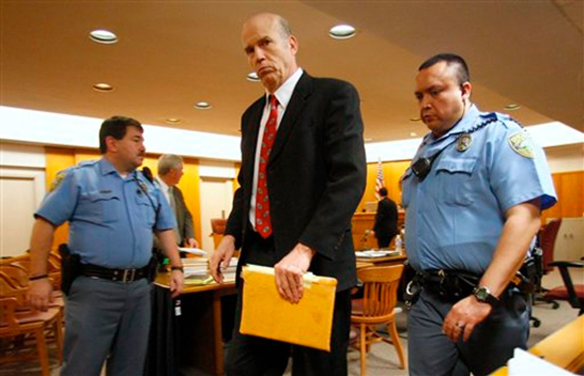 Defendant Scott Roeder leaves the courtroom after the jury heard the closing arguments in his case on Friday Jan. 29, 2010 in Wichita, Kan.