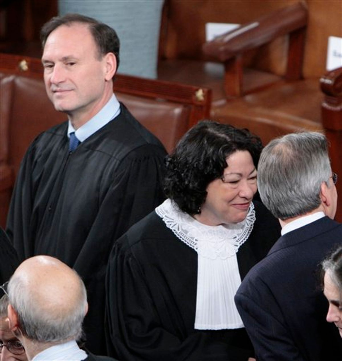 Supreme Court Justice Samuel Alito, left, and Sonia Sotomayor, center, are seen on Capitol Hill in Washington, Wednesday, Jan. 27, 2010, prior to President Barack Obama's State of the Union address . (AP Photo/Pablo Martinez Monsivais)  (AP)