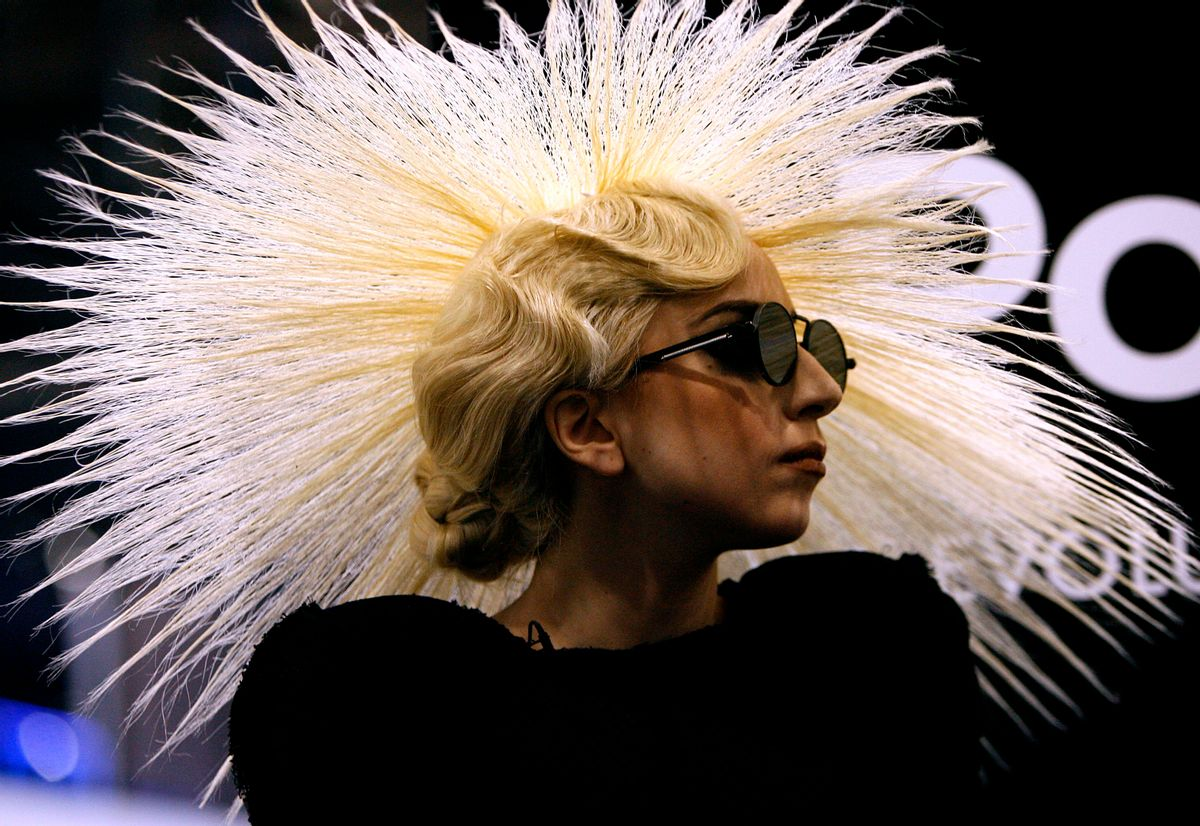 Lady Gaga appears a the Polaroid booth to announce a partnership during the Consumer Electronics Show (CES) Thursday, Jan. 7, 2010 in Las Vegas. (AP Photo/Isaac Brekken) (Associated Press)