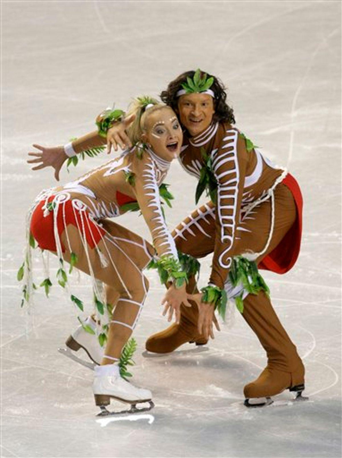 Russia's Oksana Domnina, left, and Maxim Shabalin, right, perform their original dance at the ISU European figure skating championships in Tallinn, Estonia, Thursday, Jan. 21, 2010. (AP Photo/Ivan Sekretarev) (AP)