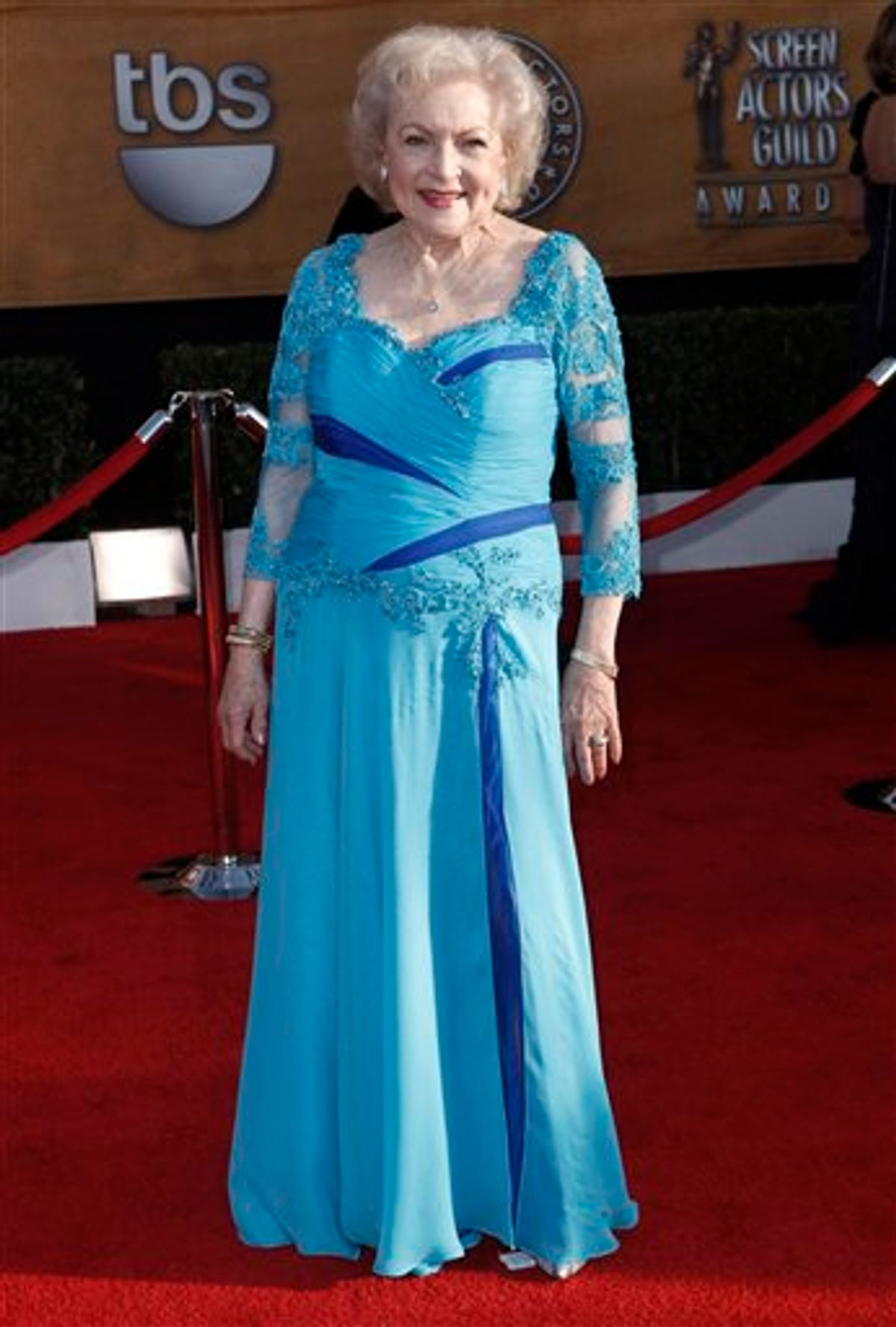 Betty White arrives at the 16th Annual Screen Actors Guild Awards on Saturday, Jan. 23, 2010, in Los Angeles.  (AP Photo/Matt Sayles) (AP)