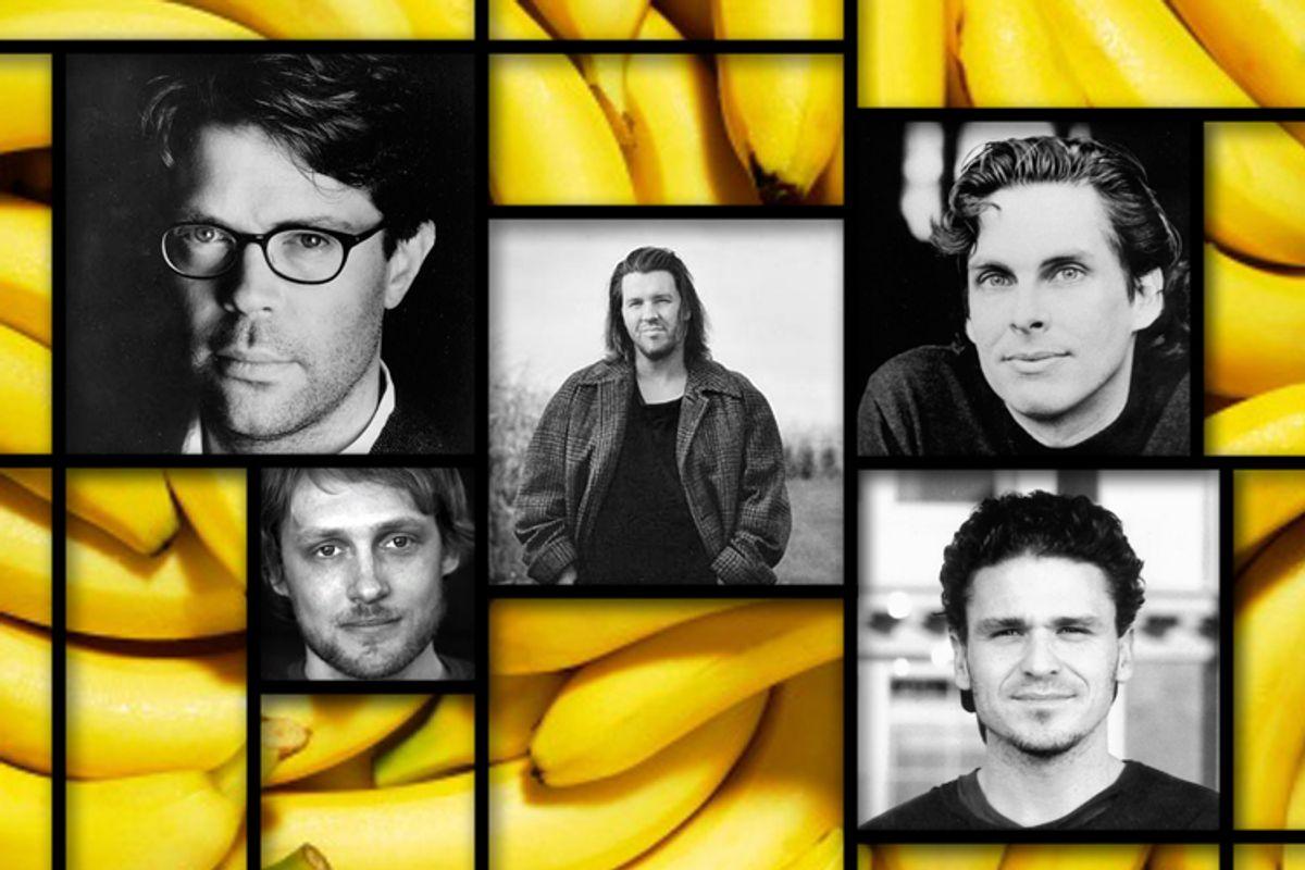 Clockwise, lower left: Benjamin Kunkel, Jonathan Franzen, David Foster Wallace, Michael Chabon, Dave Eggers