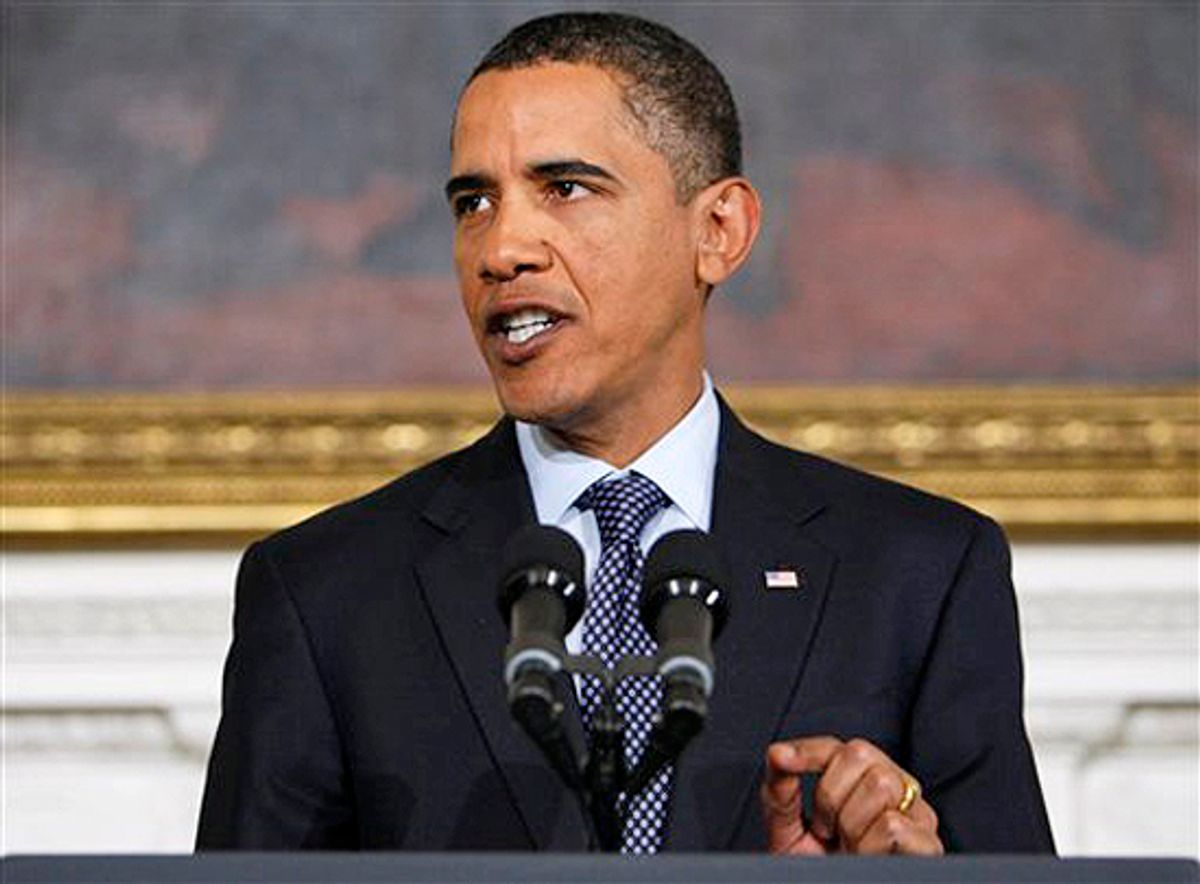 President Barack Obama speaks in the State Dining Room of the White House in Washington, Thursday, Jan. 7, 2010, about an alleged terrorist attempt to destroy a Detroit-bound U.S. airliner. (AP Photo/Charles Dharapak) (Charles Dharapak)