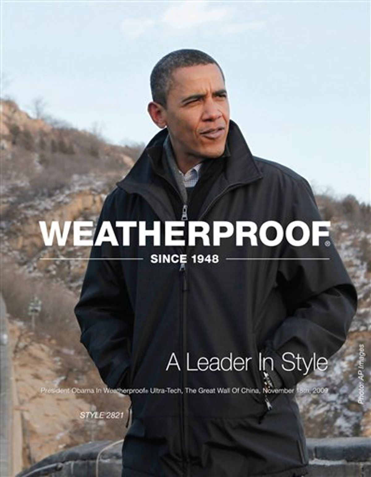 This photo released by AP Images and Weatherproof Garment Company shows President Obama wearing one of their coats while in China.(AP Photo/Weatherproof Garment Company,AP Images)**NO SALES** (AP)
