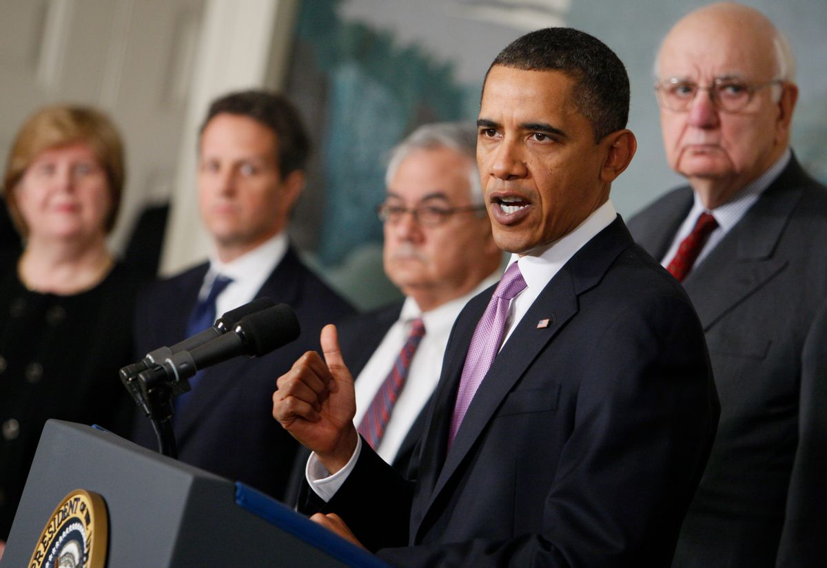President Barack Obama speaks about financial reform, Thursday, Jan. 21, 2010, at the White House in Washington. From left are, Council of Economic Advisers Chair Christina Romer, Treasury Secretary Timothy Geithner, House  Financial Services Committee Chairman Rep. Barney Frank, D-Mass., the president and Economic Recovery Advisory Board chair Paul Volcker.  (AP Photo/Charles Dharapak)      (Associated Press)