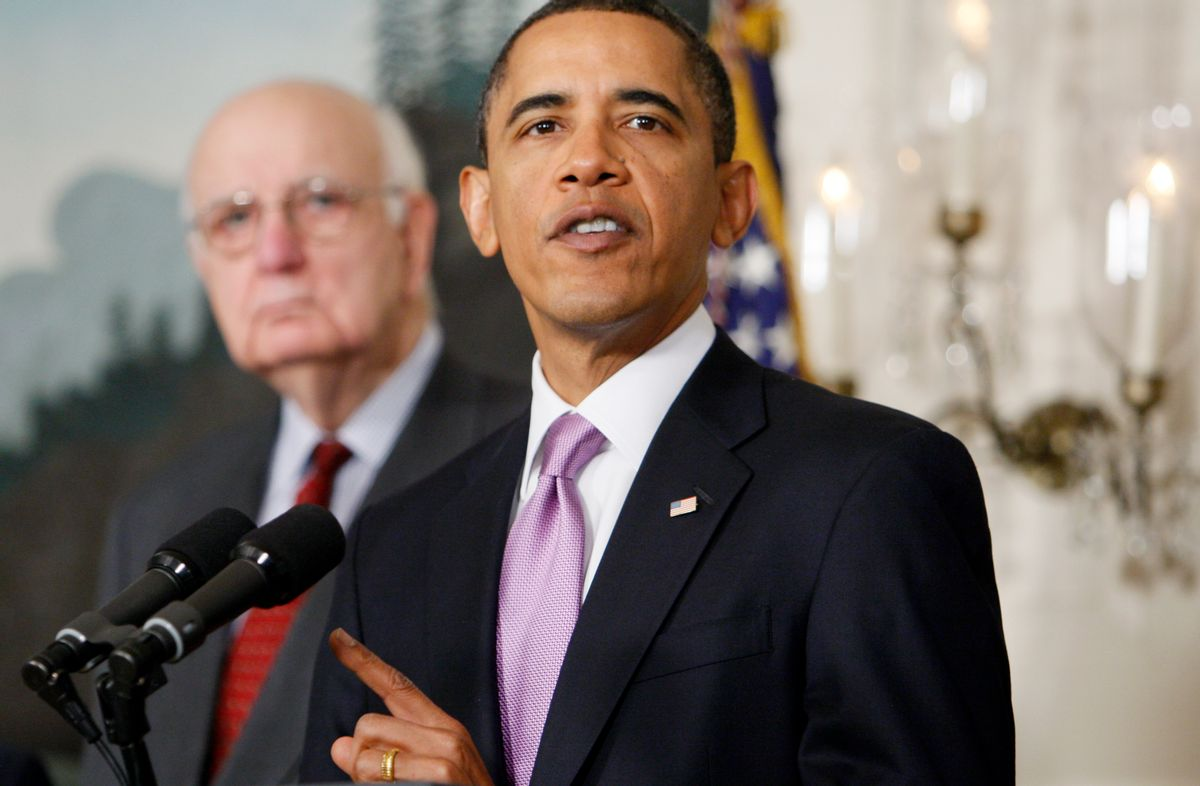 Economic Recovery Advisory Board Chair Paul Volcker looks on at left as President Barack Obama speaks about financial reform, Thursday, Jan. 21, 2010, at the White House in Washington. (AP Photo/Charles Dharapak)  (Associated Press)