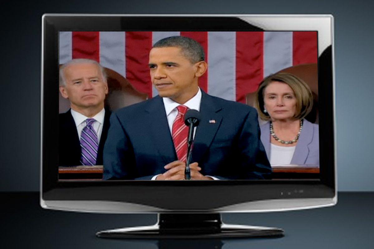 Vice President Joe Biden, President Obama and House Speaker Nancy Pelosi
