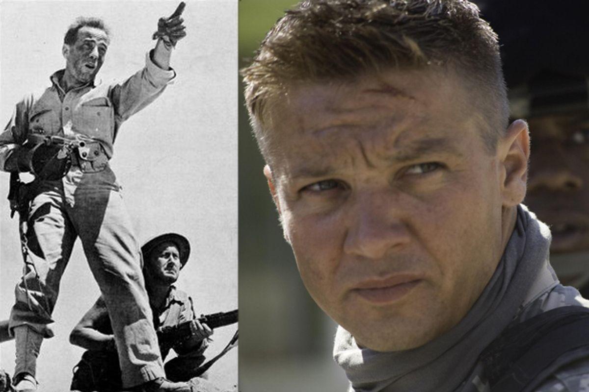 "Humphrey Bogart in ""Sahara"" and Jeremy Renner in ""The Hurt Locker"""
